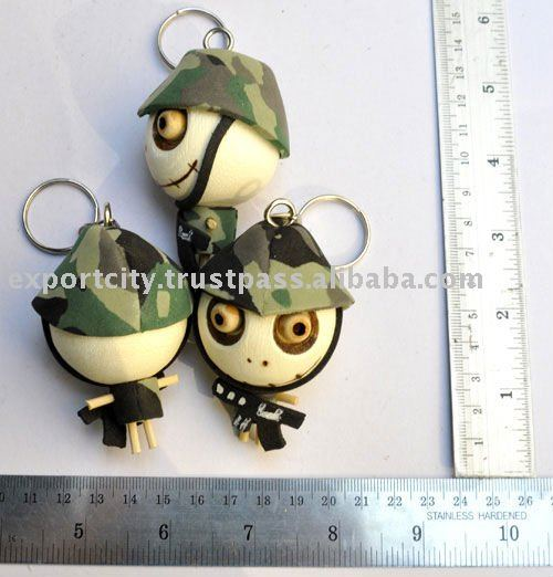 halloween voodoo voo doo doll wood head keyring (soldier)