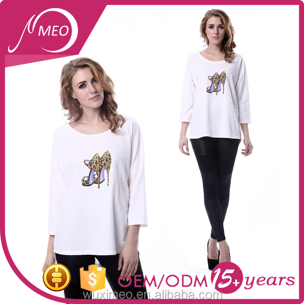 Professional customized cheap price lady's long sleeve full print t shirt