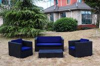 4PCS BLACK Rattan Wicker Garden Outdoor Indoor Sofa Set Furniture