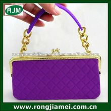 2012 new arriving purple color ladies fashion stone handbags silicone lady bag