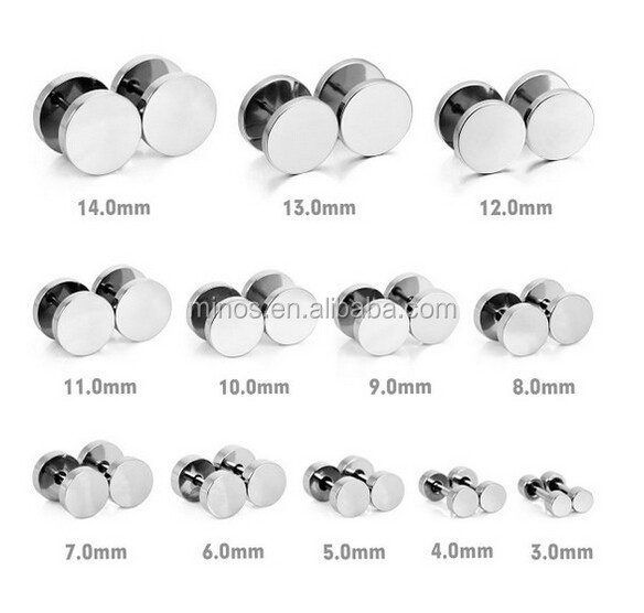 Men's 3~14mm Stainless Steel Studs Earrings Silver Polished Ear Plugs Gauges Illusion Tunnel Non Pierce Body Jewelry