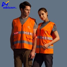 High Visibility Neon Orange Safety Vest with Reflective Strips and LED Light