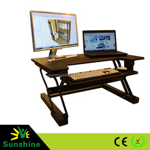 Lifting assist mechanism Black finish height adjustable sit stand desk with retractable keyboard tray