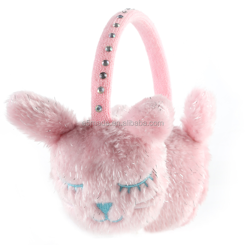 Kids girl animal cute earmuff faux fur plush winter ear warmer ear covers for sleep