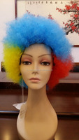 cheap colorful crazy sports fan party wigs synthetic afro wigs