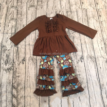 Lovely Kids Cotton Outfits brownness with ruffles wholesale clothing from china free shipping