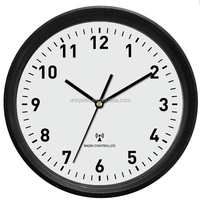 Round plastic radio controlled wall clock with RCC movement