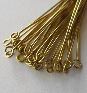 JEWELRY FINDINGS 30mm gold plated eye head pin