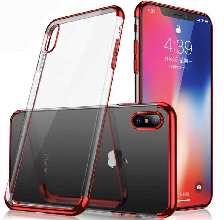 For Iphone X Crystal Clear Electroplating Tpu Case Back Cover For Apple Smartphone X Cas