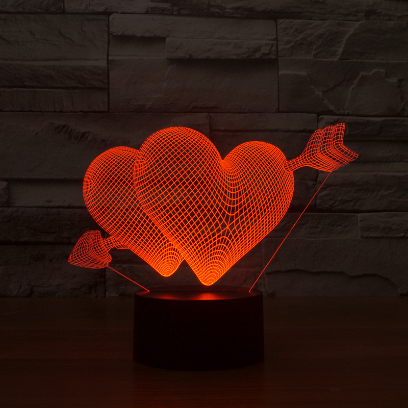Wholesale led custom 3d table lamp for wedding valentine day gifts FS-2916