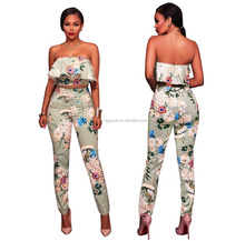 2017 Latest designs flower printed 2 pieces pants sets womens sexy jumpsuit