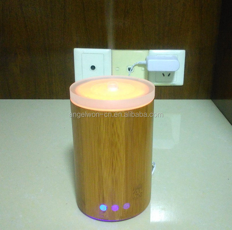 Factory zebra bamboo aroma diffuser electric air humidifier air purifier with glass top colorful LED light