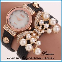Black leather watach leather bracelet lady pearl gold stainless steel jewelry