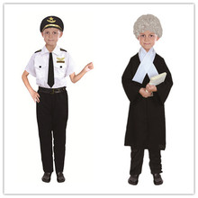Fire Services Clothing Police Lawyer Pilot Doctor Worker Child Halloween Cosplay Costume