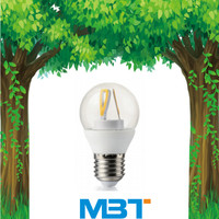 G45 A60 Led filament lamp with E27 E14 lamp wide voltage warm white cool white led bulb mbt