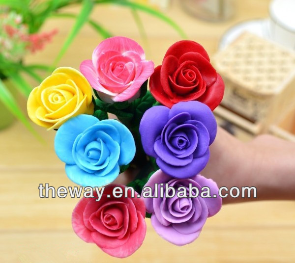 rose flower polymer clay ball <strong>pen</strong> promotional <strong>pen</strong> 6 colors