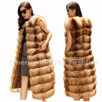 CX-G-B-131 Women Hooded Real Fox Fur Vest