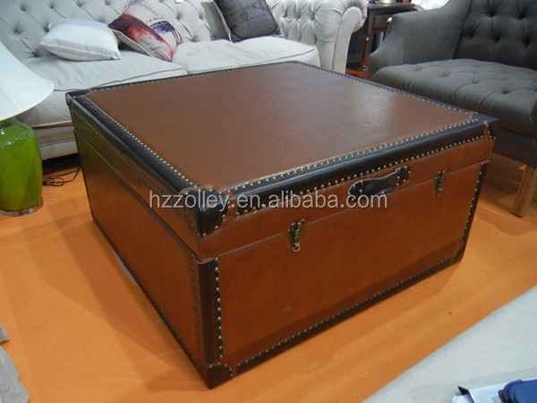 PU Leather covered ottoman stool antique european style Pu leather coffee tables design