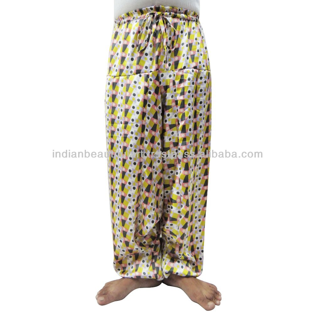 White Polka Dot Harem Women Wear Baggy Satin Silk Trouser Indian Yoga Paint