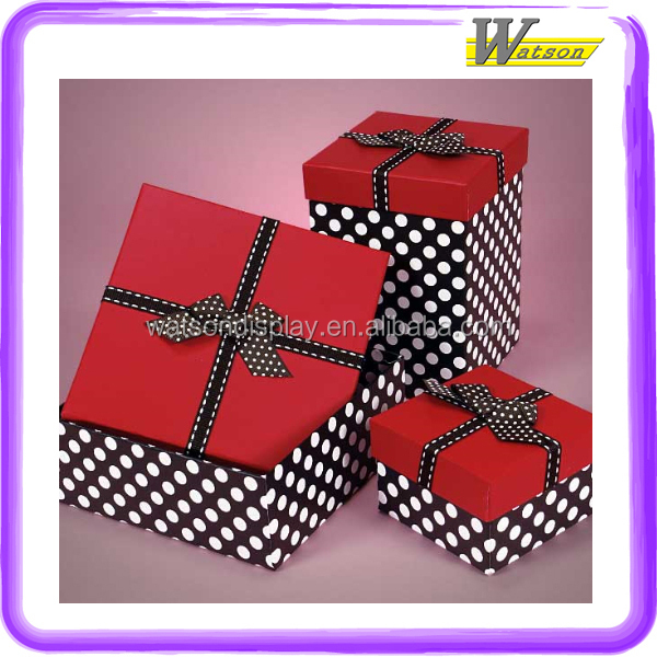 red Up and black and white polka dot Bottom Cover with ribbon bow square cardboard custom printed gift box