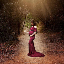 Pregnant women short lotus sleeve photography dress 2018 elastic off shoulder women wedding dress