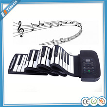 Eco-friendly silicon flexible 61keys or 88 keys roll up electronic piano keyboard