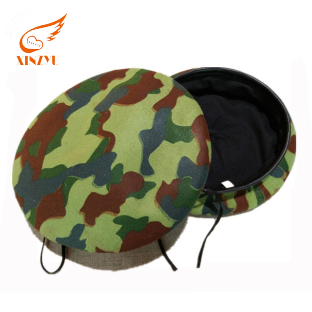 Custom Promotional Army Woodland Military Felt Berets Caps Camouflage Beret Hats For Men