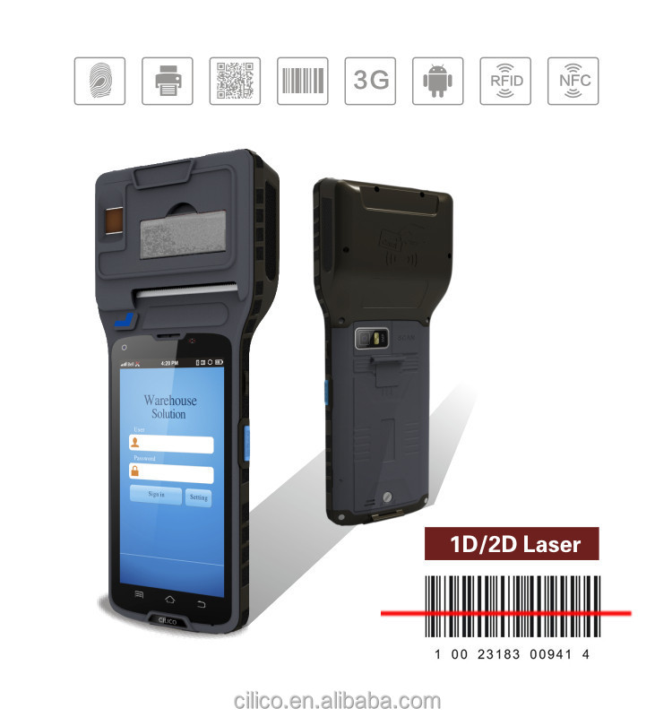 Cilico android thermal printer POS terminal built-in finger printer/barcode scanner/NFC/wifi/bluetooth/3G/GPRS/GSM