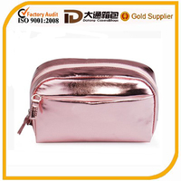 leather mini pink cosmetic pouch