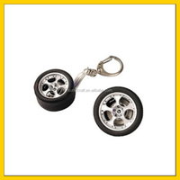 2015 new style good for promotion SPINNING TYRE KEYCHAIN WITH DISC BRAKE Mini tyre keychain zinc alloy keychain rubber rotating