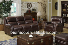 Dark brown antique sofa set,leather sofa chair (BF00-1156)