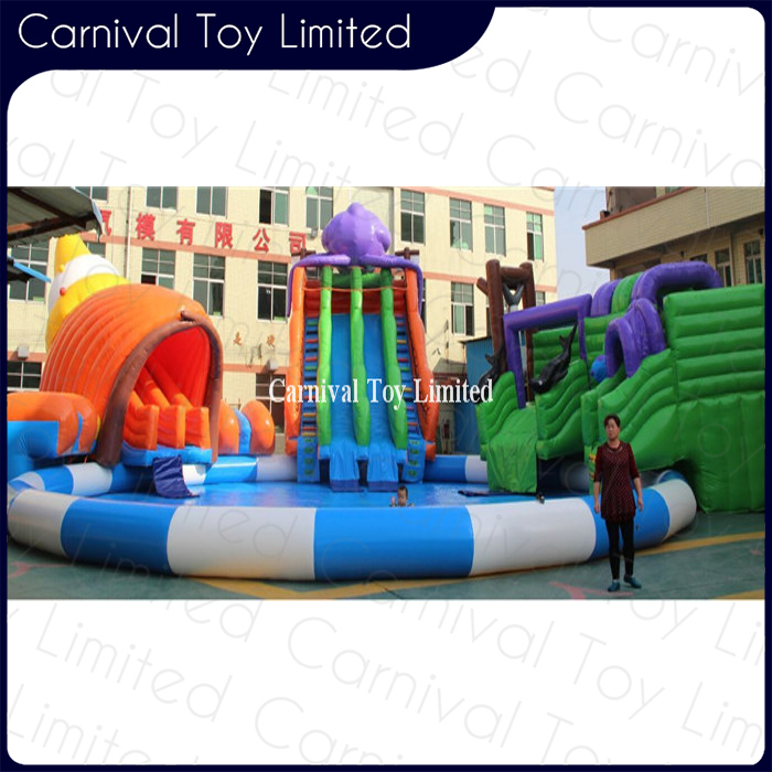 Aqua park children play game conch shape water park with pool
