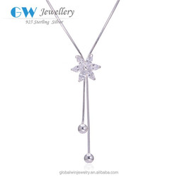 Small Beads Necklace Accessories Silver Zircon Hawaii Flower Necklace FN012