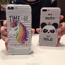 Fashion cute cartoon unicorn phone case for iphone 7 6 6s plus slim tpu angry bear back cover for iphone 7plus