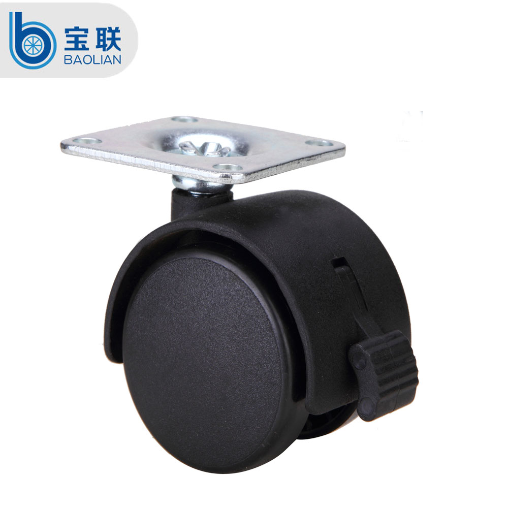 Removable black 2 inch amounting plate plastic toy caster wheel