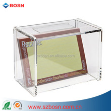 "Acrylic Recipe Box with Card Holder holds 4"" x 6"" recipe cards/Perspex Box/Plexiglass Container"
