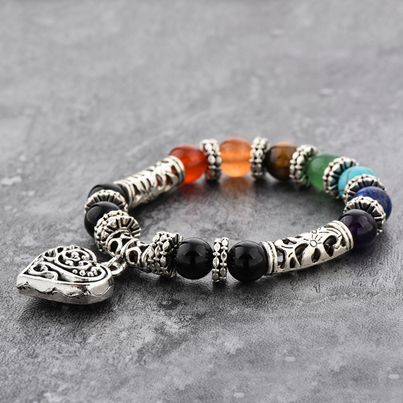 New Arrival 10mm Beads Size Chakra Bracelet ,Hollow Heart Pendant Healing Charm Agate Colorful Stone Bracelet For Men And Women