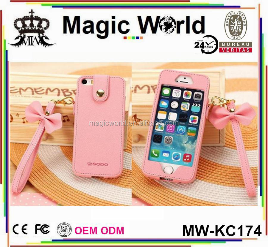 CUTE PINK BOWKNOT LEATHER PHONE CASE FOR IPHONE 5 5S