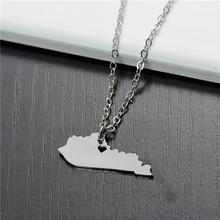 Copper & Stainless Steel Silhouette Map USA/America Kentucky State Charm Necklace Link Cable Chain Heart Pendant