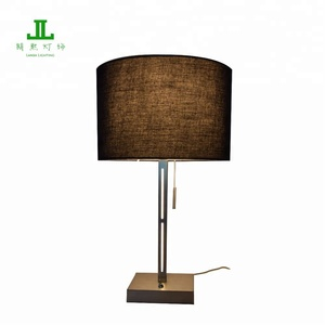 High Quality Hotel Table Lamp with LED in the Pole and E27 lampholder Brushed Nickel Finish