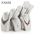 FANXI China Supplier Tall Jewelry Display Neck Stands Wood Linen Necklace Bust
