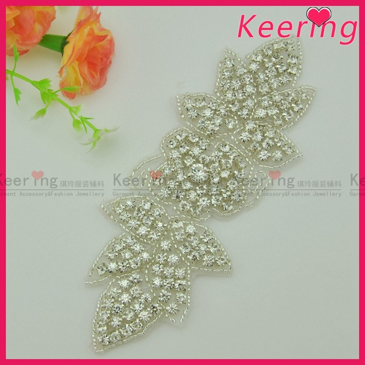 wholesale fashion rhinestone embellishment bling crystal beads for wedding dress WRA-809