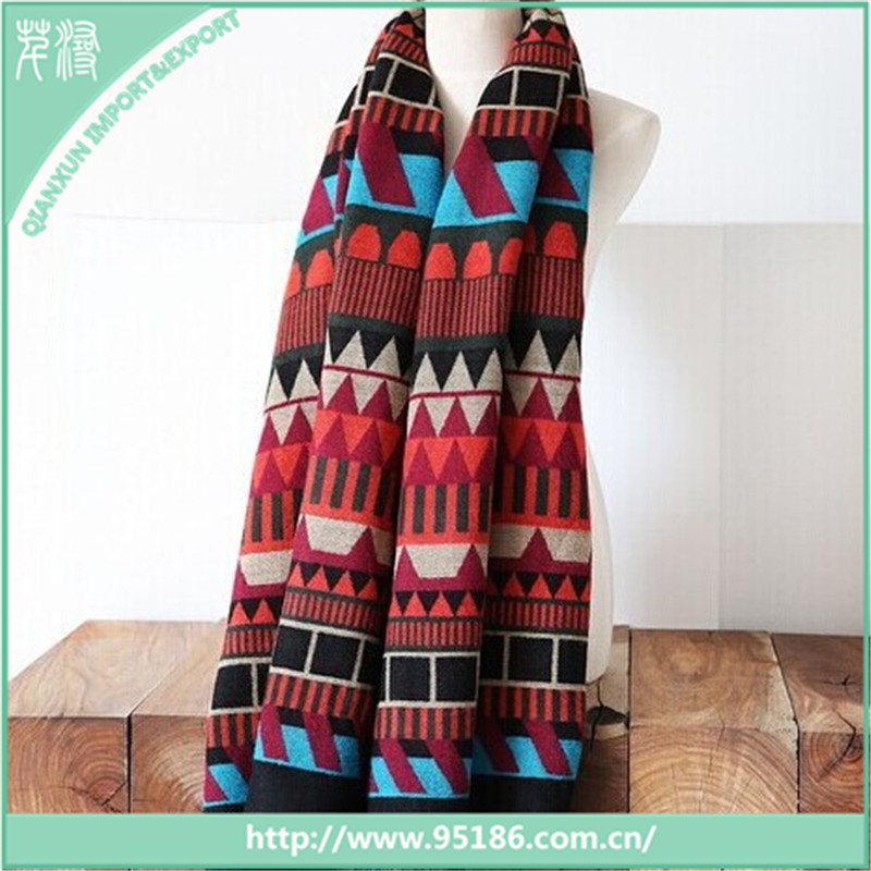 Aztec Pattern Woven Blanket Scarf With Frayed Edges pashmina scarf