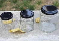 ST1501-SJ005 hexagon type glass bottles for honey,jam
