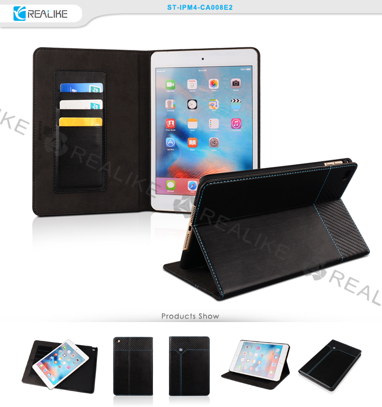 Nice stitching magnetic cover for ipad mini 4