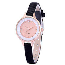 Slim Black PU Leather Band Simple Fashion Wrist Watches Ladies Quality Women Watches