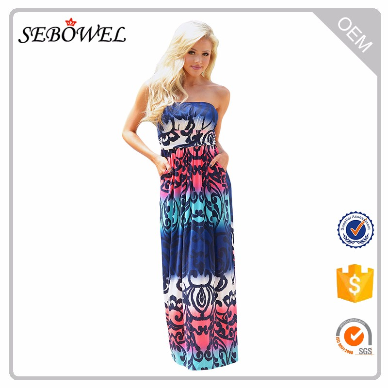 Baby Blues Multi Print Floral Strapless Maxi Boho Dress