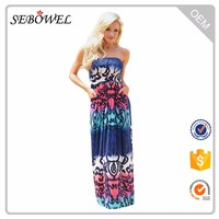 Baby Blues Multi Print Floral Strapless Maxi Boho Dress