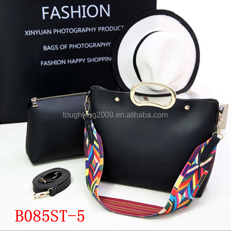 Ladies Bags 2 Pieces One Set Women Fashion Soft PU Leather Handbag With Small MOQ