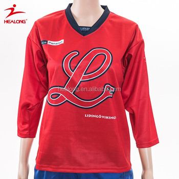 Make your own ice hockey jersey Customized Red colorful for girl